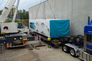 Triple Lock chamber being loaded onto transport for the trip to the New Royal Adelaide Hospital