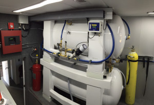 View of Mobile Equine Hyperbaric Therapy (MEHOT) plant room showing Air Receiver and Deluge Tank